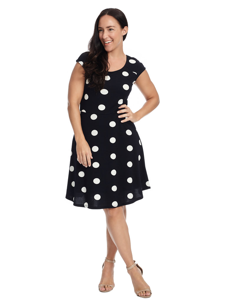 Large Polka Dot Fit And Flare Dress