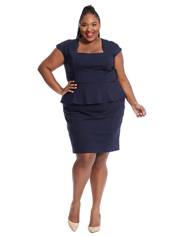 Cap Sleeve Peplum Dress In Navy