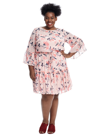 Bell Sleeve Tie Waist Floral Dress