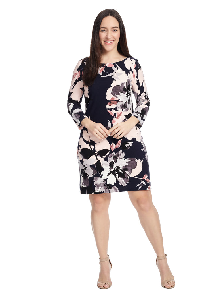 Three-Quarter Sleeve Floral Print Shift Dress
