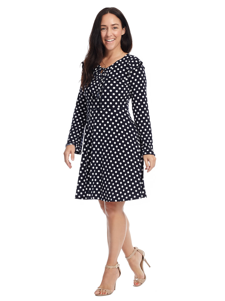 Ruffle Neck Polka Dot Dress