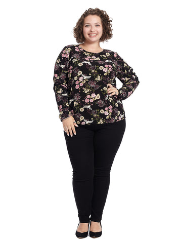 Long Sleeve Black Floral Top