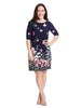 Elbow Length Sleeve Floral Print Dress In Navy And Pink
