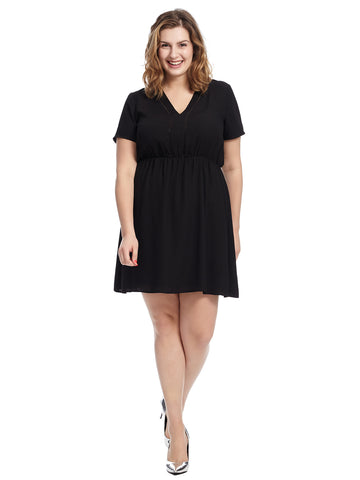 Trim Detail Black Fit And Flare Dress