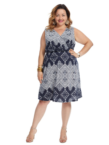 Surplice Navy And White Print Dress