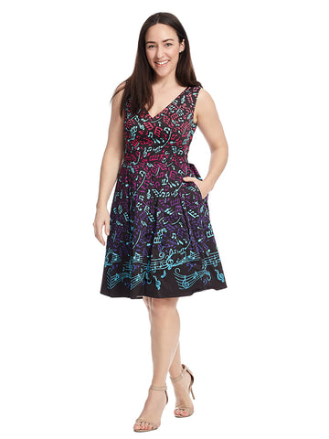 Bijou Joys Fit And Flare Dress In Music Notes