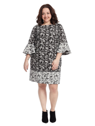 Printed Bell Sleeve Shift Dress In Black And White