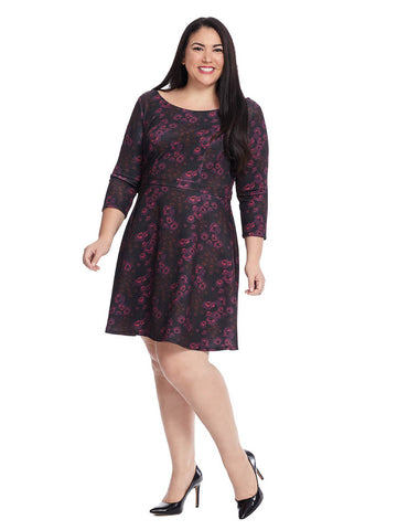 Fit & Flare Dress In Burgundy Ground Floral Print