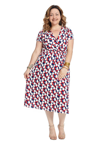 Confetti Print Surplice Midi Dress