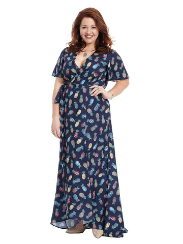 Hi-Lo Dress In Navy Pineapple Print