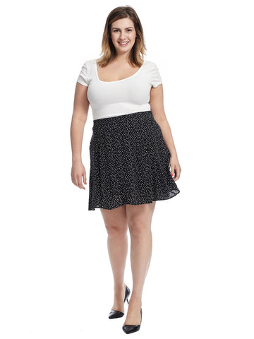 Button Front Polka Dot A-Line Skirt