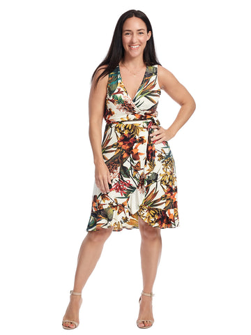 Tropical Print True Wrap Dress