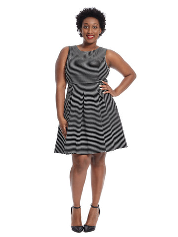 Keyhole Stripe Fit And Flare Dress