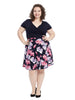 Twofer Navy And Floral Fit And Flare Dress