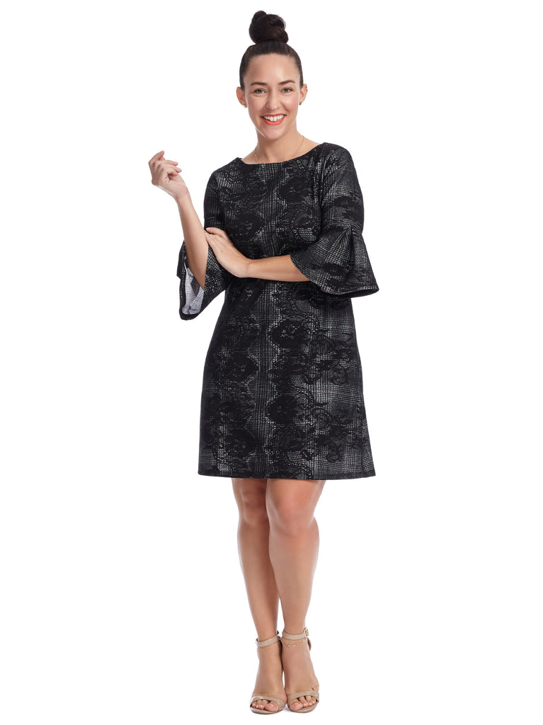 Bell Sleeve Bonded Lace Dress