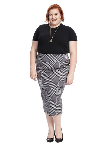 Diagonal Plaid Pencil Skirt