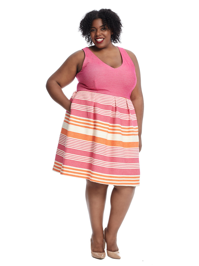 Sleeveless Pink and Citrus Stripe Fit and Flare Dress