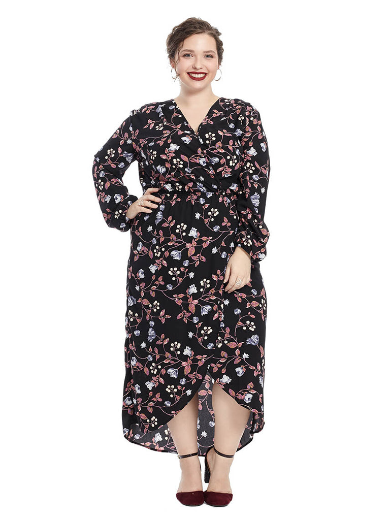 Long Sleeve Hi-Lo Dress In Multi Floral Print