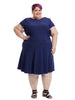 Circle Dress In Navy Cameo