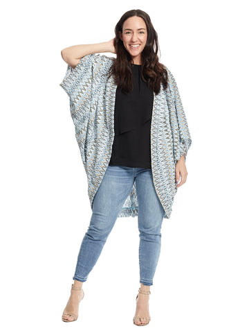 Corey Cocoon Cardigan In Sky Multi