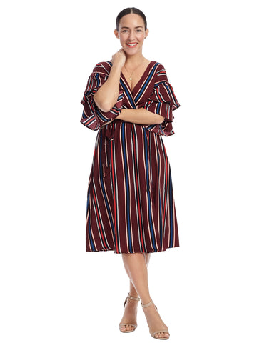 Flutter Sleeve Burgundy Stripe Faux Wrap Dress