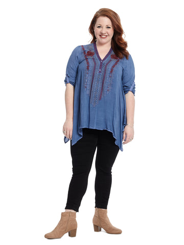 Shark Bite Hem Embroidered Denim Blue Top