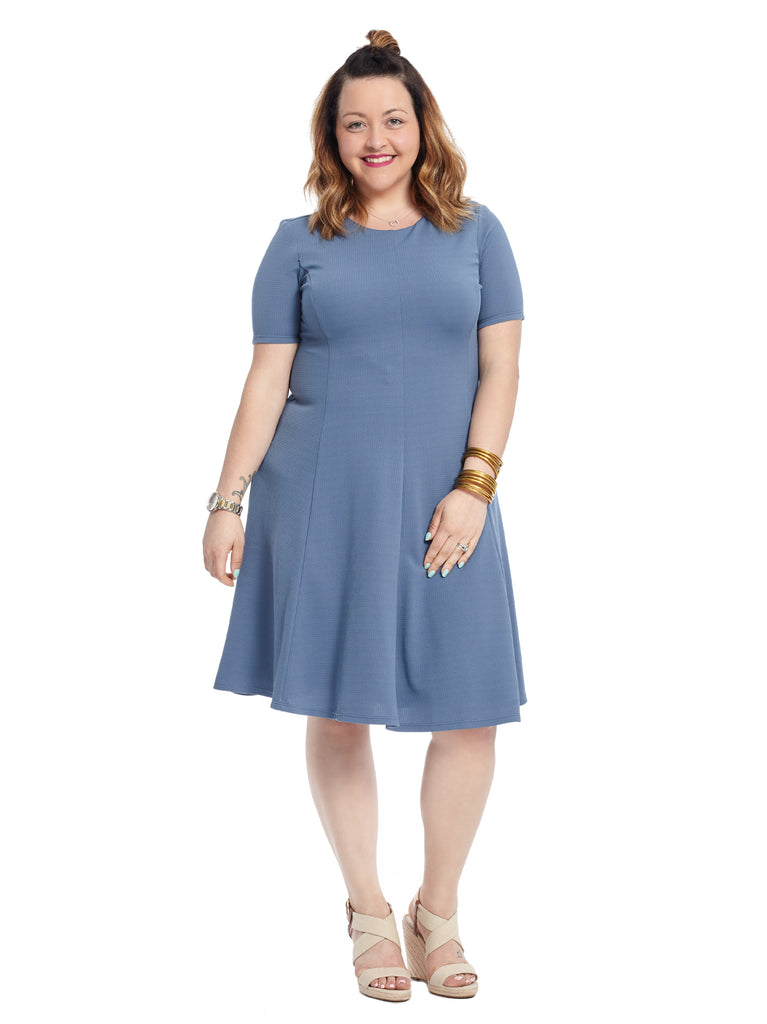 Fit And Flare Dress In Shadow Blue