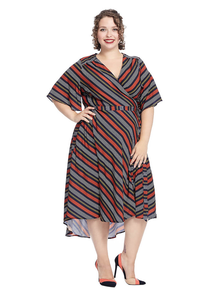 High Low Circle Sleeve Wrap Dress