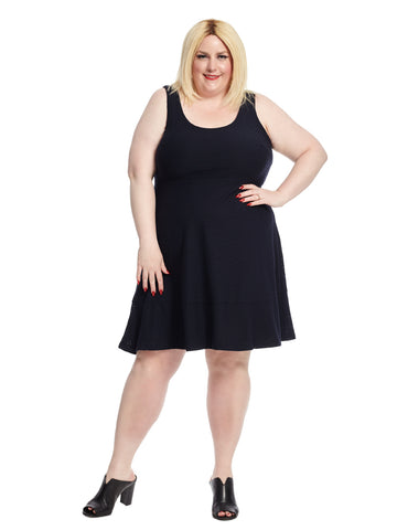 Eyelet Flounce Dress In Forever Navy
