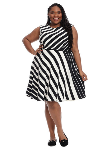 Stripe Fit & Flare Dress In Bold Stripe