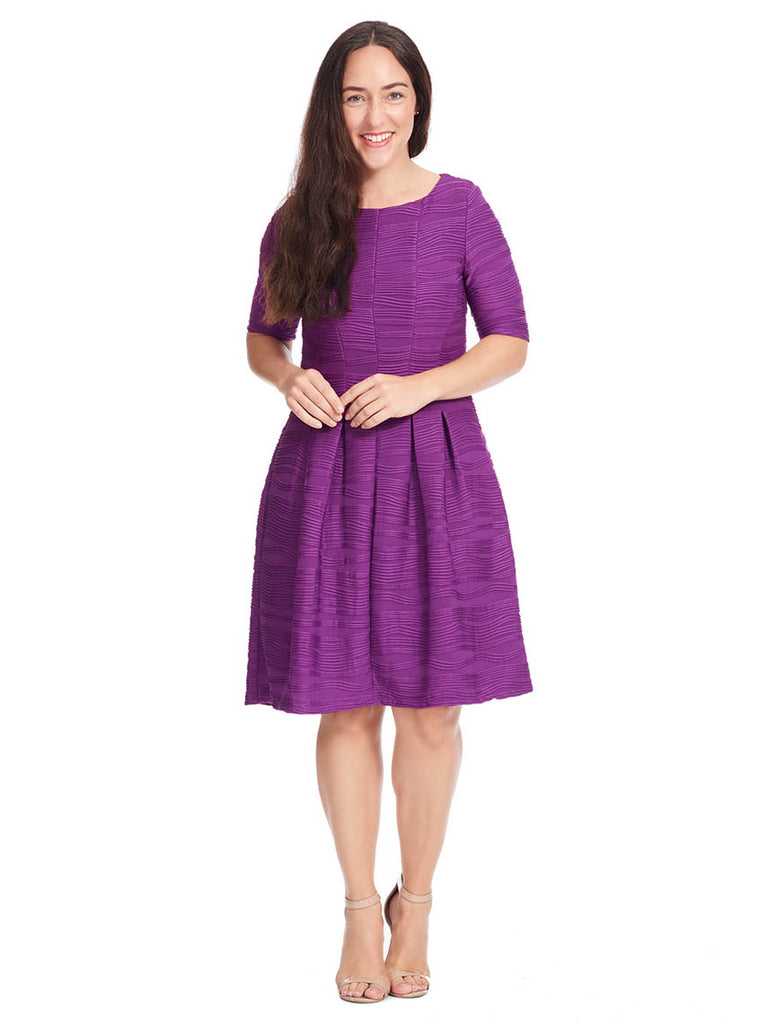 Fit & Flare Dress In Textured Purple