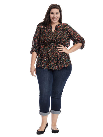 Ditsy Floral Pintuck Top