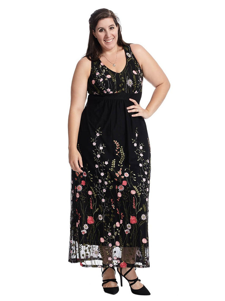 Floral Embroidery Maxi Dress