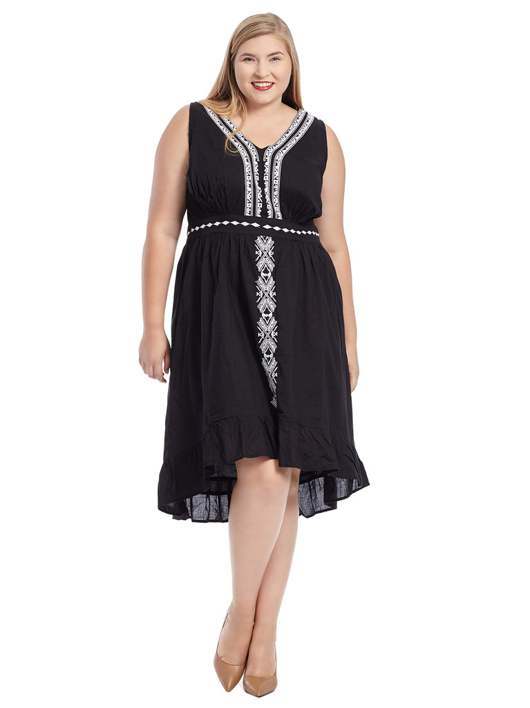 Embroidered Hi-Lo Black Dress