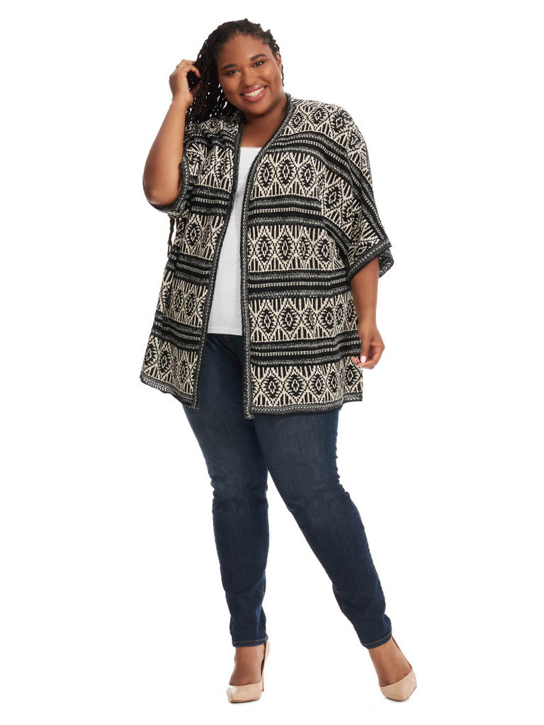 Cardigan In Black/White Multi