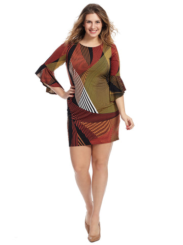 Bell Sleeve Abstract Print Jersey Sheath Dress
