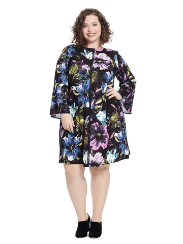 Floral A-Line Dress With Bell Sleeves
