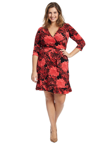 Ruffle Hem Red Perfect Faux Wrap Dress