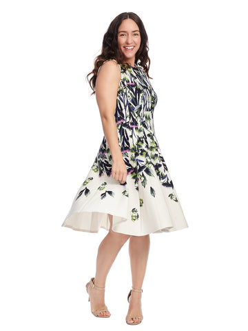 Sleeveless Floral Midi Dress In Crepe Scuba