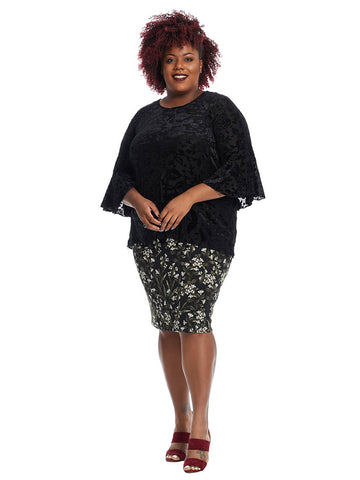 Bell Sleeve Velvet Top In Black Floral Print