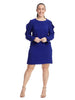 Ruffle Sleeve Shift Dress In Violet