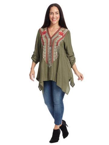 Shark Bite Hem Olive Top