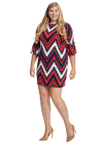 Ruffled Sleeve Striped Shift Dress