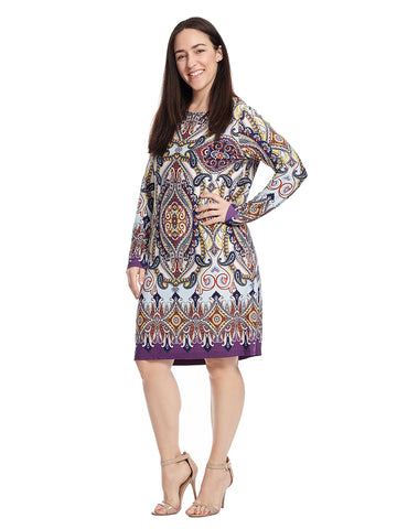 Long Sleeve Shift Dress In Multi Print
