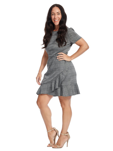 Plaid Ruffle Hem Fit And Flare Dress