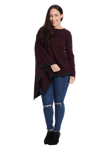 Poncho Top In Maroon With Gray Border