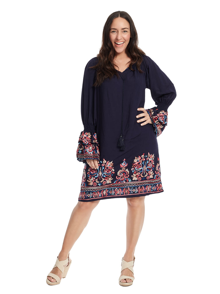 Embroidered Layered Bell Sleeve Blue Multi Print Shift Dress