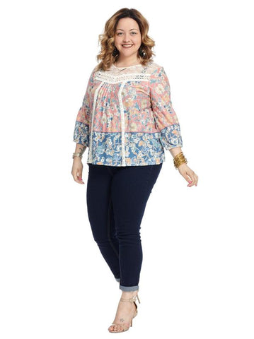 Pleated Front Lace Neck Floral Printed Top
