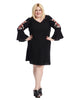 Bell Sleeve Black Dress With Floral Applique