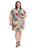 Cap Sleeve Bubble Crepe Floral Dress With Side Tie